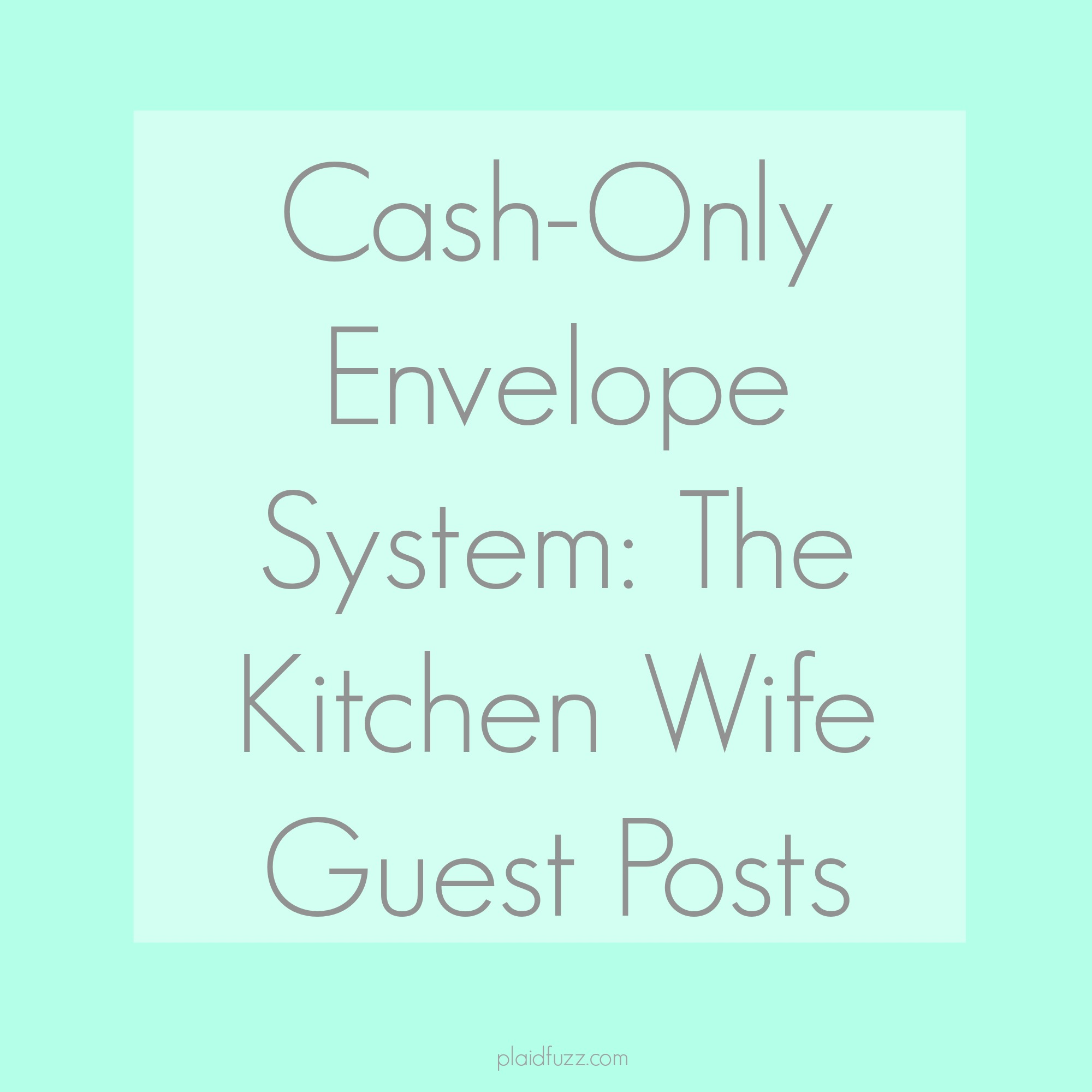 Guest Post: The Kitchen Wife Goes To A Cash-Only Lifestyle