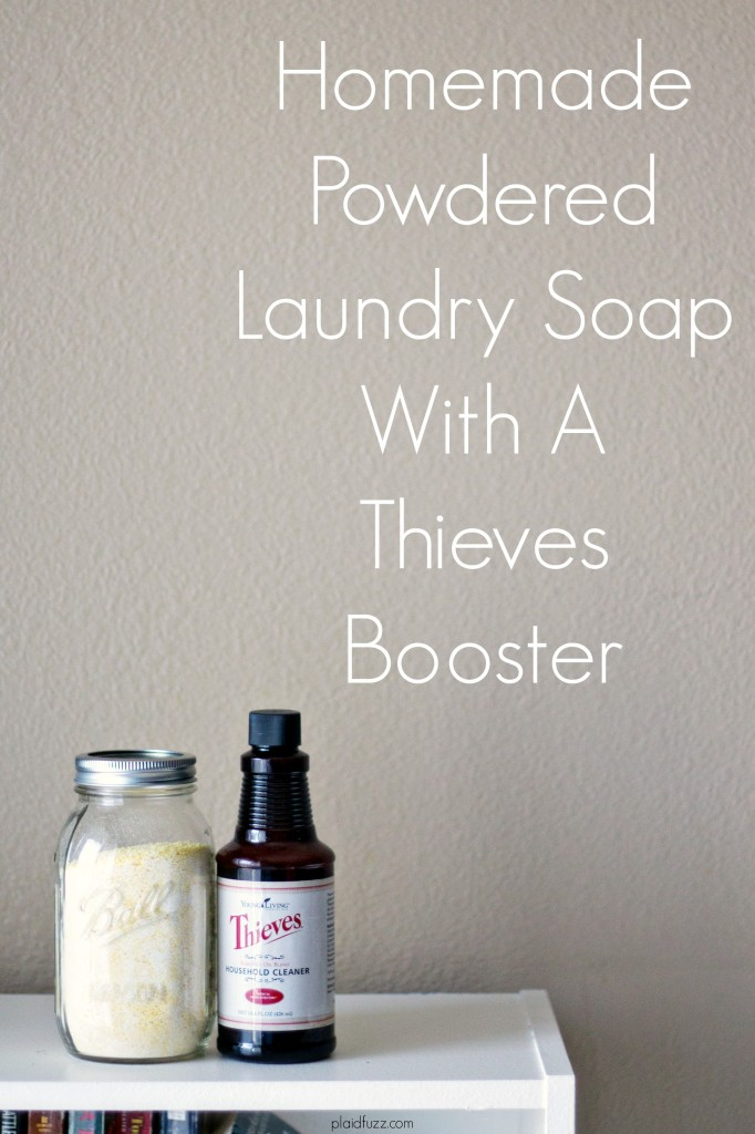 Homemade powdered laundry soap with a Thieves booster