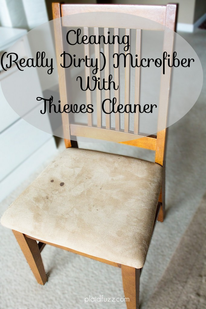 Cleaning microfiber with Thieves Cleaner