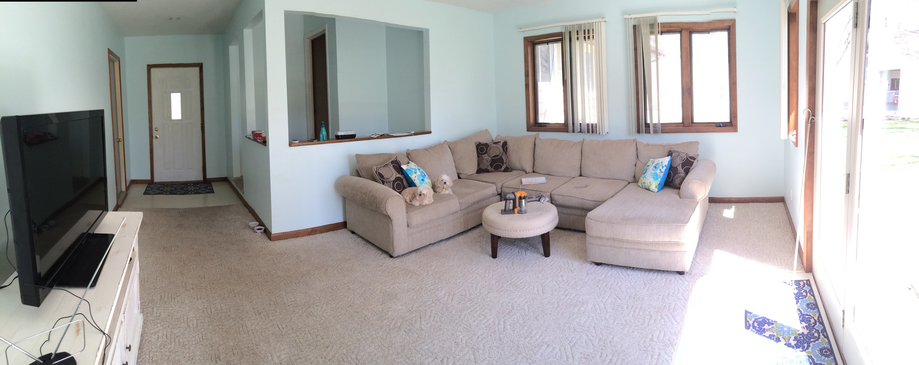 decluttered family room