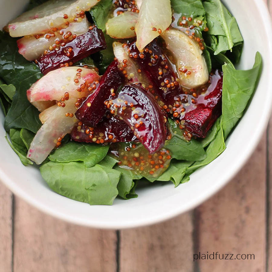 roasted beet and turnip salad with honey dijon dressing