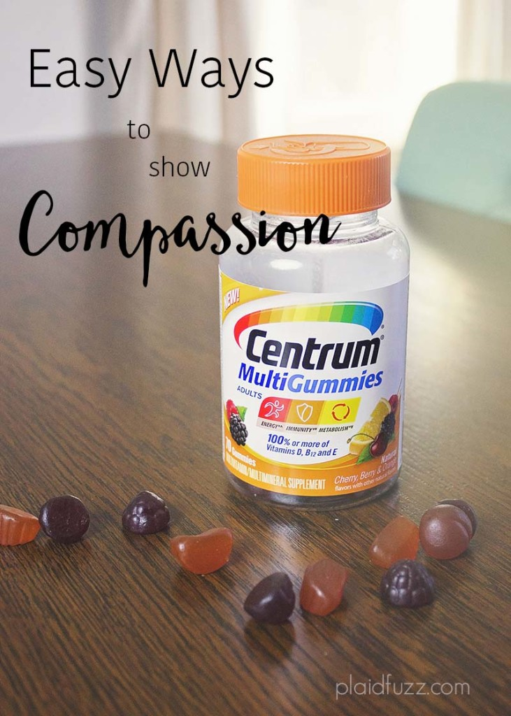 a picture of Centrum gummy vitamins with text that says easy ways to show compassion