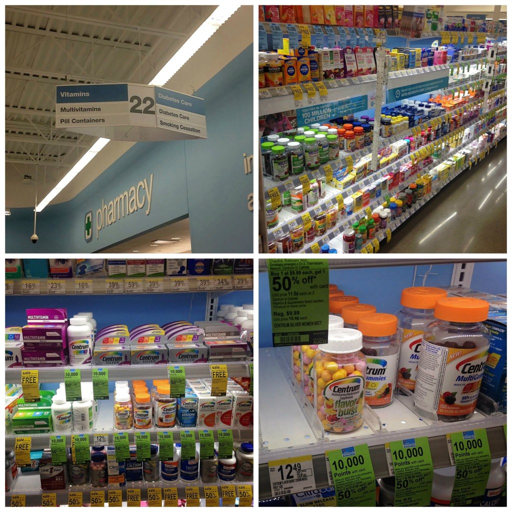 pictures of walgreens aisles where centrum vitamins are located