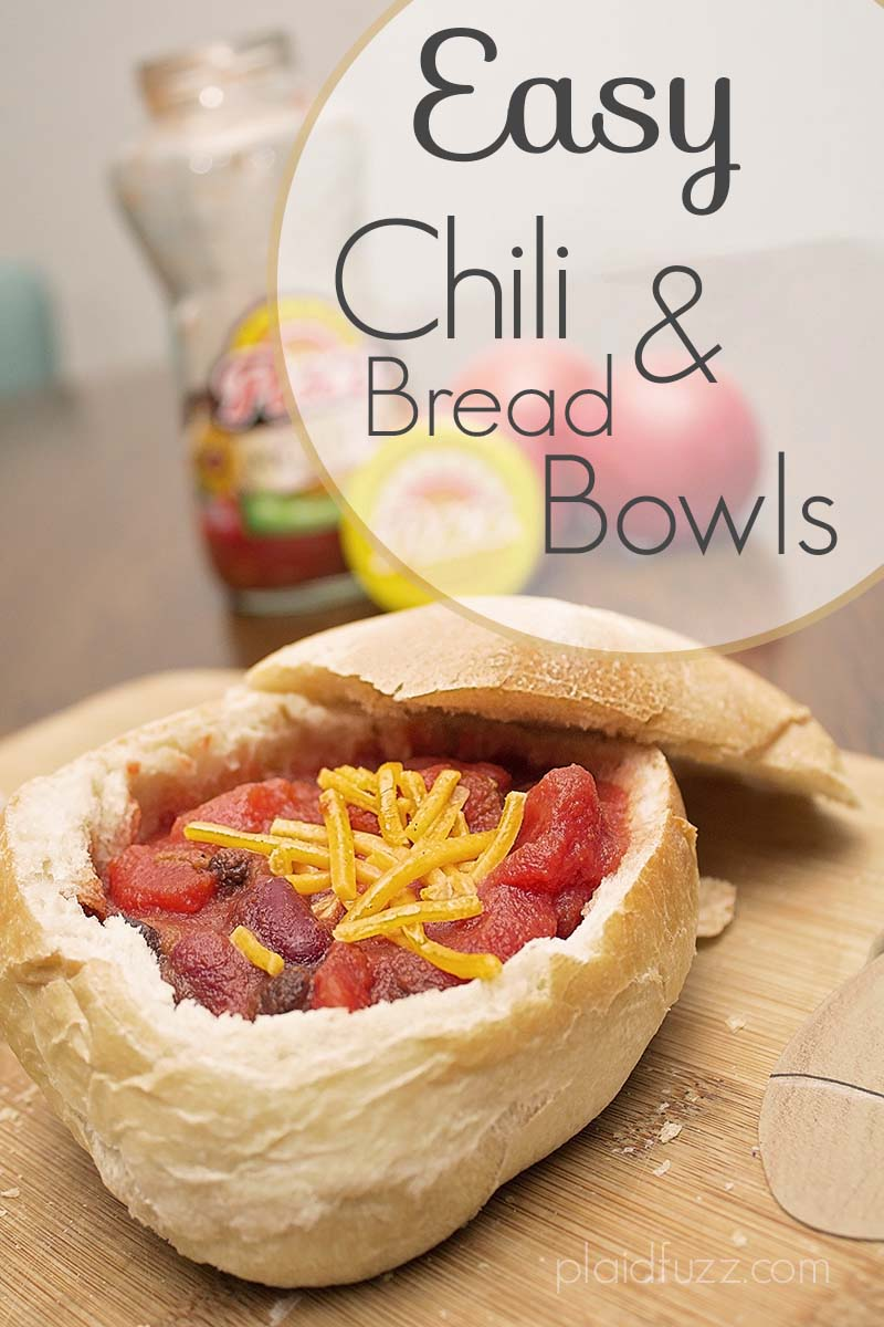 Easy chili and bread bowls